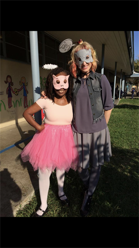 Ms. Minter and Ms. Megerian dressed as Gerald and Piggie